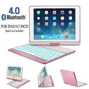 TABLET Capa para teclado IPad para 2017/2018 / Air / Air 2 / Pro 9.7-360 ° Teclado Bluetooth com tampa traseira rotativa e alumínio com 7 cores retroiluminadas (não incluindo o ipad!) FRETE GRATIS