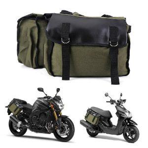 ALFOJE Bolsa de sela para motocicleta Bolsa dupla para rack de bagagem Bolsa lateral para mochila Mochila Equipamento para bicicleta Bolsa traseira (verde exército) FRETE GRATIS