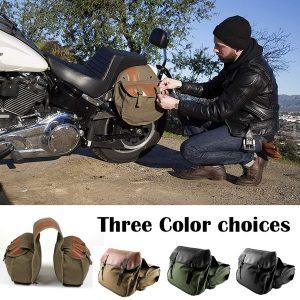 ALFOJE Couro PU motocicleta Side Tool Saddle Bag Bolsa de armazenamento adequado para todos os tipos de moto FRETE GRATIS