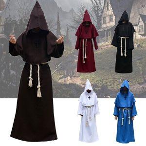 CAPA SOBRETUDO Novo Monge Medieval Trajes de Halloween Comic Con Party Cosplay Traje Vestes Com Capuz Manto Cape Frei Renascimento Padre para Homens FRETE GRATIS