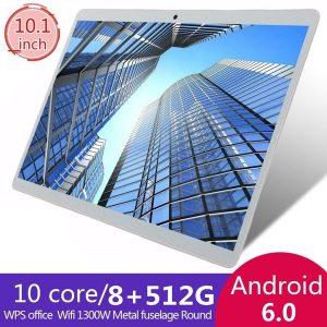TABLET Tablets Android com 8 + 512 GB de memória grande Computador Pc Computador com tela cheia de 10,1 polegadas MTK6797 Dual SIM Cards Chamada telefônica Wifi Tablets PC FRETE GRATIS