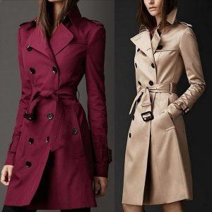 CAPA SOBRETUDO Mulheres casaco de trincheira de duas peças cor sólida casaco longo magro FRETE GRATIS