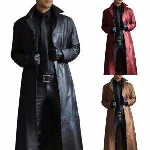 CAPA SOBRETUDO Plus size gótico steampunk dos homens longo casaco de inverno quente cor sólida casaco de couro longo casuais casacos de moto legal para homens FRETE GRATIS