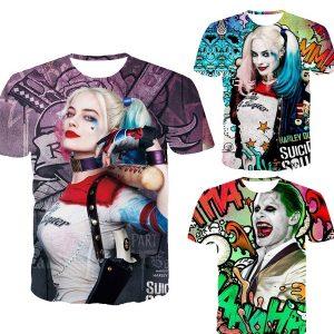CAMISETA Homens T-shirt 3D Impresso Esquadrão Suicida Camiseta para Adolescentes Menino Menina Harley Quinn Coringa Deadshot Masculino Rick Bandeira Dos Homens Camisas Boomerang FRETE GRATIS