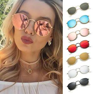 OCULOS Novas mulheres coloridas estilo redondo óculos de sol óculos de armação de metal de luxo uv400 óculos de sol charme menina casual óculos verão acessórios ao ar livre lunettes de soleil FRETE GRATIS