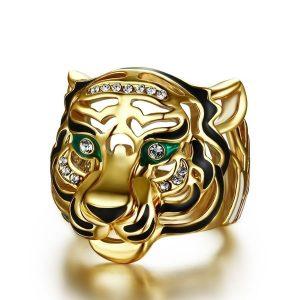 ANEL Dominador dos homens 18 k banhado a ouro diamante e anel de cabeça de tigre esmeralda festa de casamento presente de noivado jóias tamanho do anel 6-10 FRETE GRATIS