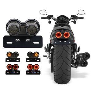 Luz traseira da motocicleta Lâmpada de sinal de direção e luz de freio integradas com suporte de placa para Harley Honda Yamaha Suzuki Kawasaki (preto) FRETE GRTIS