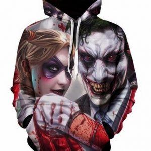 MOLETON Joker sangrento & Harley Quinn 3D impresso homens / mulheres hoodies de alta qualidade / moletom com capuz FRETE GRATS