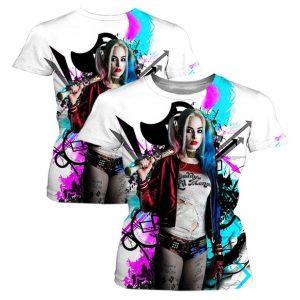 CAMISETA Novo Design Personalidade Criativa Harley Quinn 3D Impressão Unisex T-shirt de Alta Qualidade Casual Mangas Curtas FRETE GRATIS