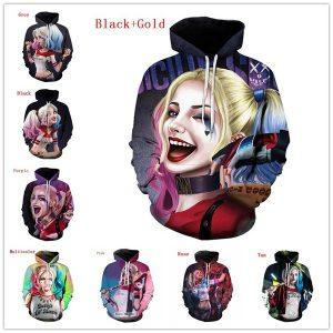 MOLETON Nova Moda Das Mulheres Dos Homens 3D Moletom Com Capuz Esquadrão Suicida Harley Quinn Impressão 3D Tamanho Grande Jaqueta Pullovers Solto Streetwear FRETE GRATIS