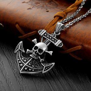 Crânio de aço inoxidável Colar de pingente de âncora para homens e mulheres Cosplay Partido Pirata jóias góticas FRETE GRATIS