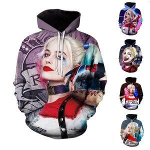 MOLETON Moda Homens / Mulheres Hoodies Casal 3D Impressão Esquadrão Suicida Harley Quinn Hoodies Plus Size FRETE GRATIS