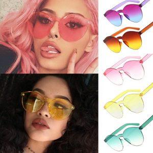 OCULOS Cores doces transparentes Olho de gato Óculos de sol Das Mulheres Dos Homens Designer de luxo Óculos de sol sem moldura clara FRETE GRATIS