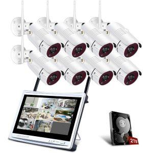 """CAMERA Sistema de câmeras de segurança sem fio All-in-1 da AJCAM com monitor LCD de 12 """", kit DVR de vigilância Wi-Fi em casa de 8 canais 1080P c / câmeras IP de CCTV 8PCS 2.0MP, disco rígido de 2 TB, configuração de bricolage, à prova de intempéries, remoto APP gratuito FRETE GRATIS"""