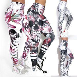 CALÇA Crânio de moda feminina impresso calças de yoga magros e magros FRETE GRATIS