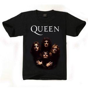 CAMISETA Algodão dos homens da moda manga curta impresso rainha banda estilo rock camiseta top tee FRETE GRATIS