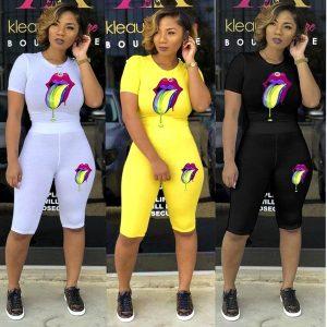MACACÃO A última moda lábios coloridos duas peças costura senhoras de manga curta casual sportswear roupas femininas FRETE GRATIS