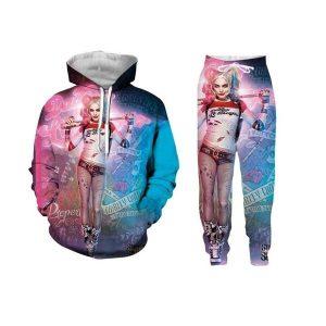 MOLETON CONJUNTO Novos homens da moda / mulheres Harley Quinn Joker Esquadrão suicida engraçado 3D impressão Hoodie + calças FRETE GRATIS