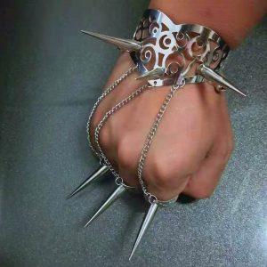 SOCO INGLES Homens e mulheres Punk Cool Style Spike Rivets Studded Bracelate & Rings, Cobre metálico FRETE GRATIS