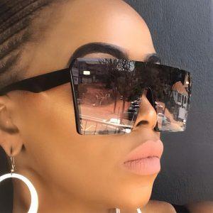 OCULOS Moda óculos de sol quadrados de grandes dimensões mulheres marca de luxo moda top vermelho preto lente clara one piece homens gafas sombra espelho uv400 FRETE GRAIS