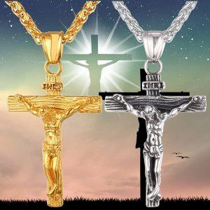 COLAR Moda Colar Cruz INRI Jesus Pingente de Ouro Cadeia de Aço Inoxidável Para Homens Presente Jóias Cristãs Do Vintage FRETE GRATIS