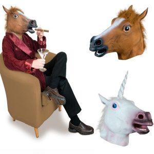 MASCARA Cavalos de venda quente Assustador Marrom Máscaras de Cabeça Halloween / Traje de Natal Prop Theatre Novidade Borracha Látex FRETE GRATIS