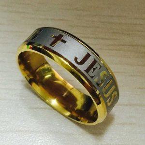 ANEL Alta qualidade tamanho grande 8mm 316 Aço de Titânio 18 K prata banhado a ouro jesus cruz Carta anel da aliança de casamento das mulheres dos homens FRETE GRATIS