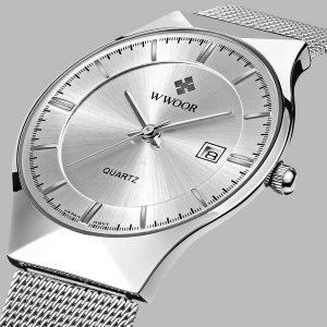 RELOGIO WWOOR Assista Homens Data Relógio de quartzo Bracelete de malha de aço inoxidável Relógio de discagem ultra fino FRETE GRATIS
