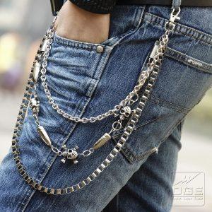 CORRENTE Personalidade de moda masculina Moda punk Street Fashion Caveira Calças de várias camadas FRETE GRATIS