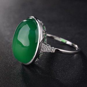 ANEL Esmeralda de prata esterlina 925 da senhora / anéis de casamento pedras preciosas naturais FRETE GRATIS