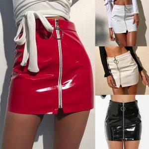 SAIA Moda feminina Couro Bodycon Saia Rodada Anel Zipper PU Mini Saia Vestidos FRETE GRATIS