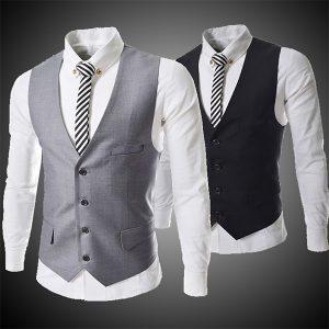 COLETE Moda Masculina Negócios Negócios Slim Versão Curta Terno Com Decote Em V Vestido Coletes (5 cores Tamanho: S-5XL) FRETE GRATIS