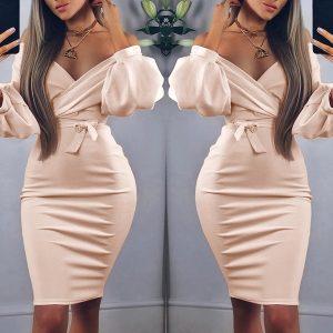VESTIDO Mulheres Sexy V Neck Puff Sleeve Off Shoulder Midi Pink Dress FRETE GRATIS