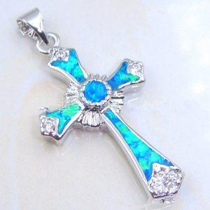 COLAR 925 prata esterlina azul fogo opala casamento charme colar de jóias FRETE GRATIS