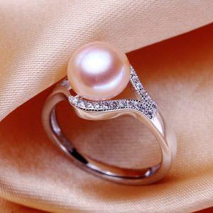 ANEL Belas pérolas de água doce moda feminina 925 festa de prata jóias senhora anel presente FRETE GRATIS