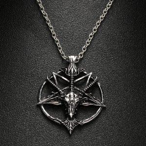 COLAR Moda Pentagrama Pan Deus Crânio Cabeça de Cabra Colar de Pingente Sorte Satanismo Ocultismo Metal Estrela de Prata Vintage Colar para Homem FRETE GRATIS