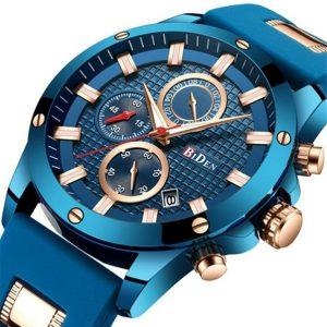 RELOGIO BIDEN Azul Dourado Homens Esporte Assista Moda Casual Aço Inoxidável Legal Masculino relógio de Pulso 30 Metro À Prova D 'Água RETE GRATIS