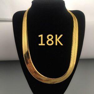 COLAR Moda masculina e feminina, colar de corrente de cobra banhado a ouro 18K, colar italiano de alta qualidade em ouro italiano (tamanho: largura: 6 mm. Comprimento 16 polegadas-28 polegadas) FRETE GRATIS