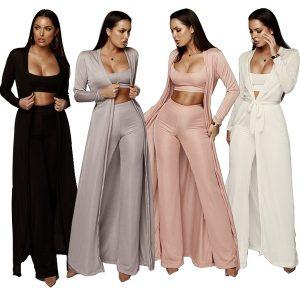 CONJUNTO Mulheres Casaco Moda Lazer Suite Trecho Tricô Conjunto de três peças Terno Casual 3 PCS (1 camiseta + 1 calça + 1 casaco) FRETE GRATIS