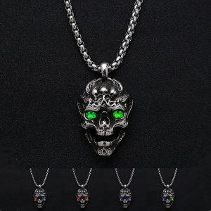 COLAR Punk aço inoxidável 316L colar de caveira de diabo jóias masculinas de hip hop FRETE GRATIS