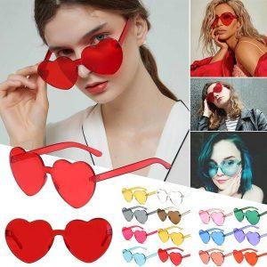 OCULOS 12 cores amor em forma de coração óculos de sol mulheres 2018 sem aro quadro tonalidade clara lente óculos de sol coloridos vermelho rosa amarelo tons FRETE GRATIS