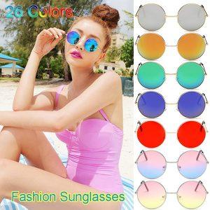 OCULOS Moda feminina homens unisex vintage lentes coloridas hippie óculos de sol retro metal redondo círculo óculos de sol óculos de verão praia FRETE GRATIS