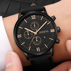 RELOGIO Relógios dos homens Moda Relógio de Negócios de Luxo Preto Ultra Fino Data Dial Relógio Pulseira de Couro Relógio de Pulso de Quartzo Para Montre Uhren Herren FRETE GRATIS