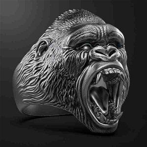 ANEL Retro 925 Prata King KongRing Punk Gorilla Ring Gótico Ciclismo Punk Presente dos homens FRETE GRATIS