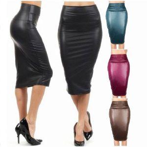SAIA Mulheres saia de couro falso lápis cintura alta sexy abaixo do joelho vestido FRETE GRATIS