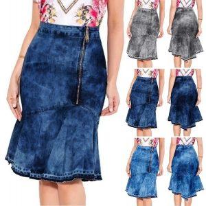 SAIA Saia Jeans de Cintura Alta das mulheres Casual Zip Saia Fishtail Verão Curto Plissado Jean Saia Pacote Saia Hip FRETE GRATIS