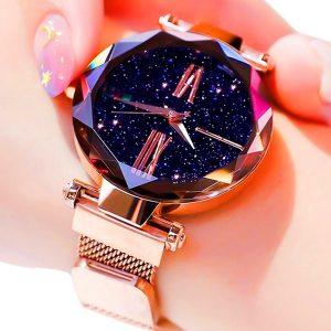 RELOGIO Mulheres Luxo Céu Estrelado Relógios Rose Gold Pulseira Pulseira de Malha Fivela Magnética Quartz Ladies Watch Feminino Relógio Presente de Natal FRETE GRATIS