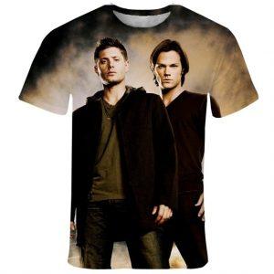 CAMISETA Novo Sobrenatural cas dean e Sam T-Shirt homens e mulheres camiseta 3D Estilo Verão Moda harajuku camiseta camiseta Roupas FRETE GRATIS