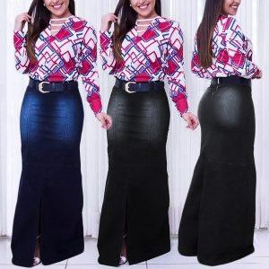 SAIA Moda feminina de cintura alta Bodycon Denim Skirt Casual Package Hip Long Jean Saias FRETE GRATIS