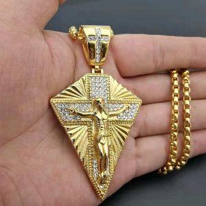 COLAR Aço inoxidável Grande Jesus Cruz Pingente de Ouro Colorblock Strass Cruz Colar de Jóias dos homens FRETE GRATIS